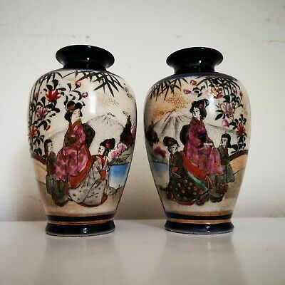 Pair of Antique Japanese Meiji Satsuma Mirror Vases Signed 5in High