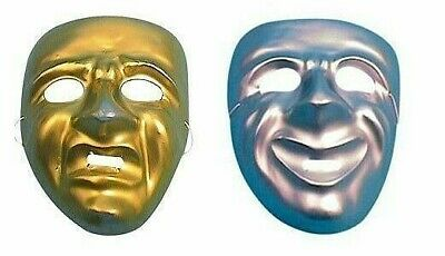 Lot of 2 Comedy Tragedy Happy Sad Masks Gold Silver Greek Theater Masquerade