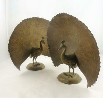"Pair of Vintage Indian Brass Peacocks Ornaments Figures 8"" Tall 1950's"