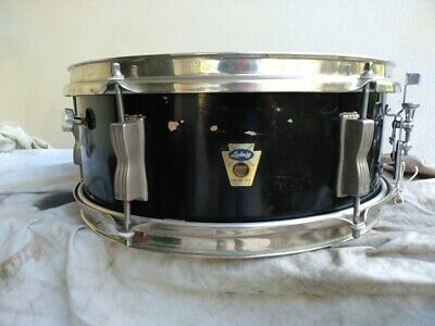 Ludwig Pioneer 14X5 Snare 1958 Black Laquer Tansition Badge Rare Snare Drum