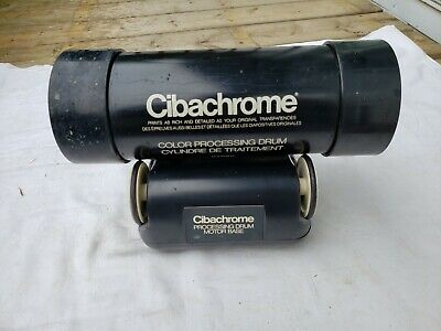 vtg ilford cibachrome Photo Processing drum Motor Base + cylinder