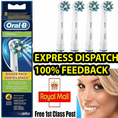 Braun Oral B Cross Action Electric Toothbrush Heads 4 Pack - 1ST -  FREE POSTAGE