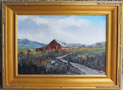 Walt Lee  (1888 - 1980) Large Califonia Listed   Red Barn w Cow in the Pasture