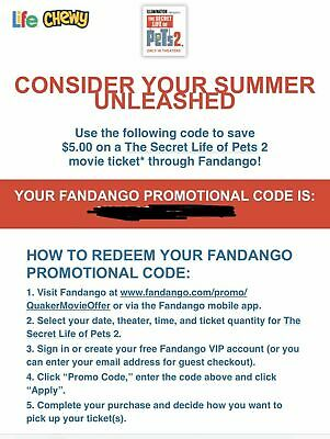 Secret Life of Pets 2 2019 Movie Fandango Promo Code for Ticket $5