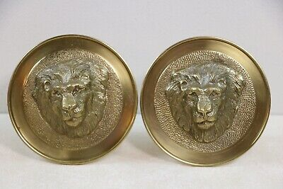 "Pair of Lacquered Solid Brass 5"" Round 3D Lion Head Curtain Tie Backs"