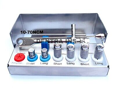 Dental Implant 10-70ncm Torque Wrench Ratchet Kit with Drivers & Bur Holder CE
