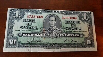 1937 Bank of Canada 1.00 miss cut NM7221069 Gordon /Towers VFine