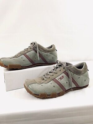 new style 179c9 2a487 Diesel Evelyn Women s Casual Shoes Gray   Burgundy Leather Sneakers Size 8