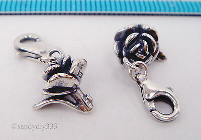 1 Sterling Silver Rose Flower Charm Pendant European Lobster Clip On Charm #1970