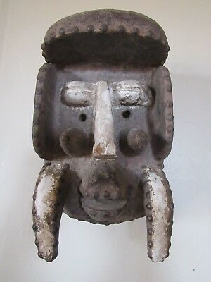 Authentic- Old BETE Gre African Wood Hand Carved Mask Iron Studs -Cote d'Ivoire