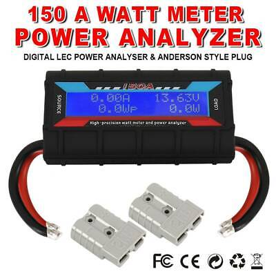 150A Watt Meter Power Analyzer Digital LCD Solar Volt Amp AndersonStyle Plug AU