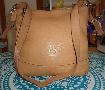740cf184a Lovely Coach F03790 Soft Pebbled Tan Leather Crossbody/Shoulder Handbag