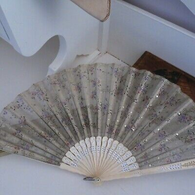 Antique folding fan late Victorian/Edwardian silver with pink & purple flowers
