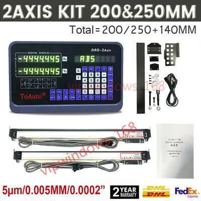 """8"""" x 10"""" Mini Lathe Linear Glass Scale 2Axis Digital Readout DRO Display Milling"""