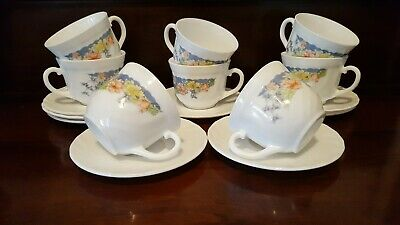 8 Arcopal Florine Cups And Saucers Milk Glass France Vintage
