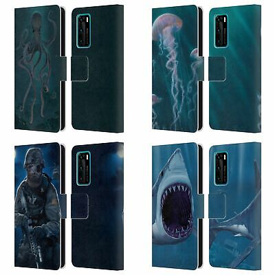 Official Vincent Hie Underwater Leather Book Wallet Case Cover For Huawei Phones