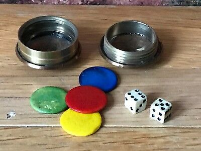 Trench Art WWI 1916 Converted Penny (Battle of the Somme) Dice Game Hazard/Craps