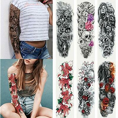 dd44e8401cc4f 6 Sheets Full Arm Temporary Tattoo, Waterproof Extra Large Tattoos For  Women Men