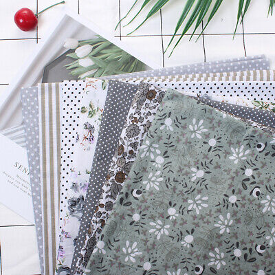 7pcs 25*25cm Cotton Fabric Assorted Squares Pre-Cut Quilt Quarters Sewing DIY