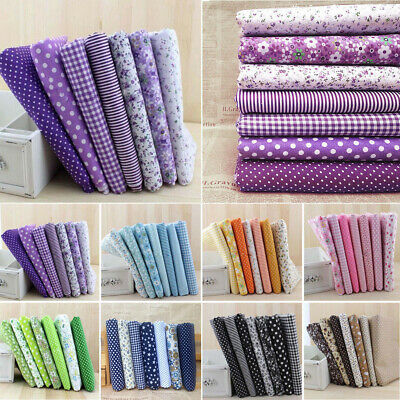 7pcs Floral Cotton Fabric Assorted Squares Pre-Cut Quilt Quarters Bundle 25*25cm