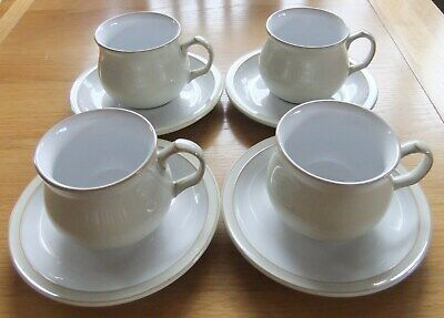 Set of 4 x Denby  Linen Pattern Cups & Saucers, Immaculate Condition, RRP £76