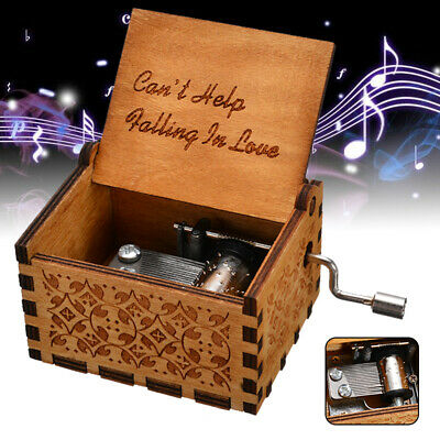 """Can't Help Falling in Love"" Wooden Music Box Engraved Interesting Toy Xmas Gift"
