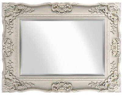 Large Ornate Antique French Versailles Wall Mirror Cream 75cm x 85cm