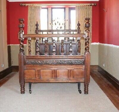 Antique  Arts & Crafts Oak Double Bed  / Stunning