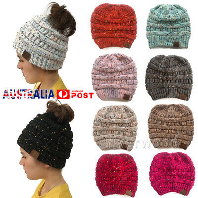 Women Girl Beanie Ponytail Messy Bun BeanieTail MultiColor Ribbed Winter Hat Cap