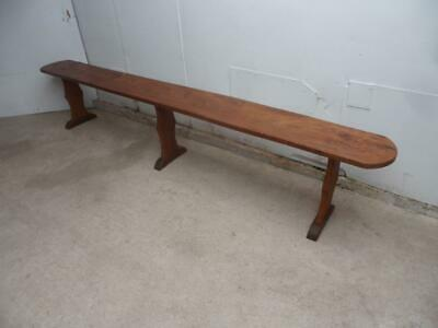 A Fantastic English Victorian Large Elm 6 Seater Bench c1890s