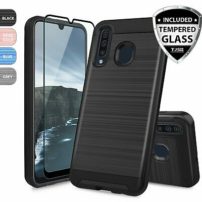For Samsung Galaxy A20 A30 A50 Phone Case, Brushed Armor Rubber +Tempered Glass