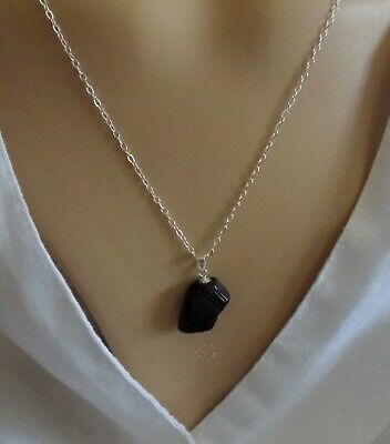 """WHITBY JET PENDANT 925 Silver Bail & 18"""" 925 Silver Link Chain & Lobster Clasp"""