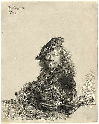 Rembrandt Etching Reproduction: Self Portrait Leaning on a Wall: Fine Art Print