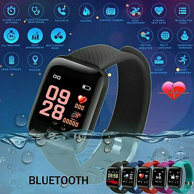 Black Smart Watch Bluetooth Heart Rate Blood FitBit Monitor Fitness Tracker UK