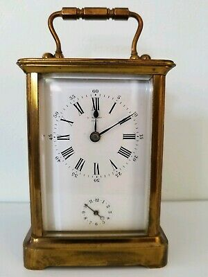 19th century French brass cased carriage alarm clock