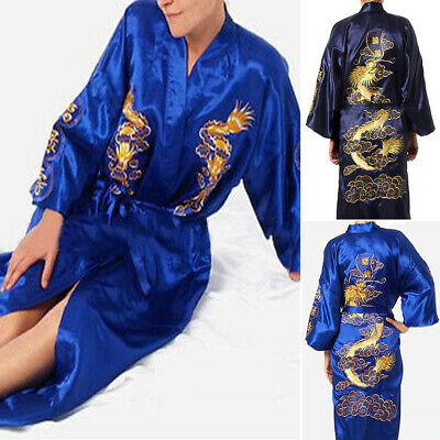 Belted Bathrobe Spa Mens Robe Chinese Silk Pajamas Nightwear Plus size Cover up
