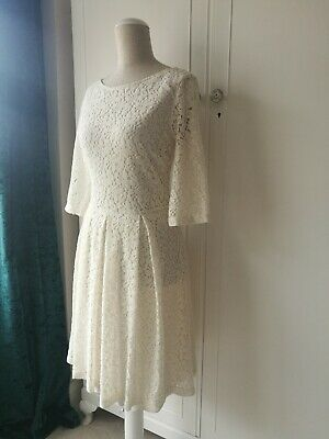 NEXT Beautiful Vintage Style Light Cream Lace Dress 3/4 Sleeve BNWT Size 10