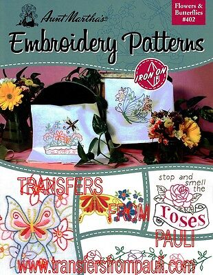 Fanciful Flowers Aunt Martha/'s Hot Iron Embroidery Transfers Booklet #410