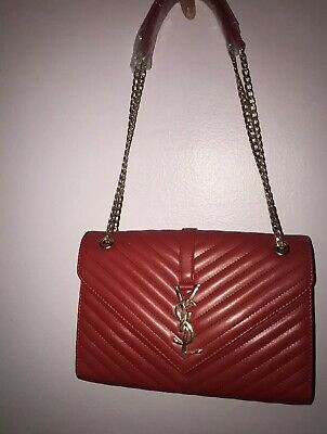 2903571b20f YSLYves Saint Laurent Large Monogram Leather Envelope Chain Shoulder Bag Red