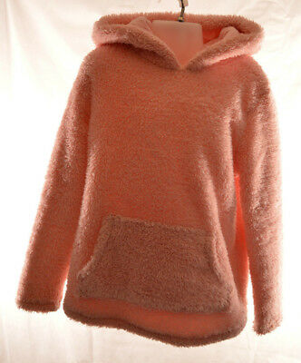 Girls Pink Fluffy Cozy Hooded Jumper UK Size Age 7-8 Years
