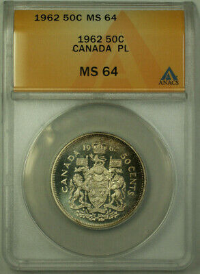 1962 Canada 50 Cents Half Dollar Silver Coin ANACS MS-64 PL Lightly Toned