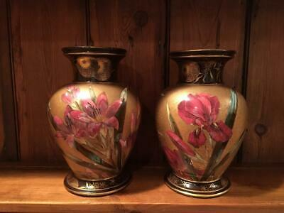 Doulton Faience Vases, Hand Painted, Artist Signed, circa 1885