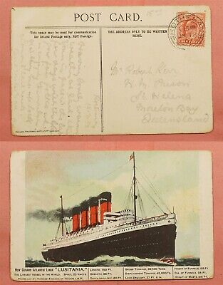 1907 Great Britain Scotland Lusitania Ship Postcard Rothesay Cancel