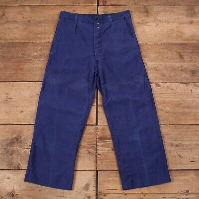 "Mens Vintage Canals Dark Blue Moleskin French Workwear Trousers 32"" x 25"" R13274"