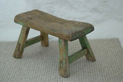 Small 19th C Milking Stool Original Green Paint Distressed Finish Country Made
