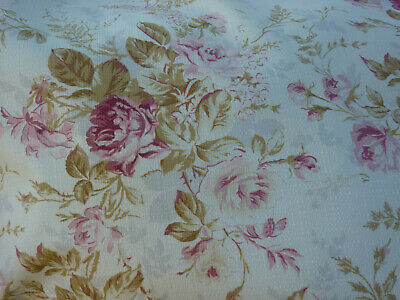 American Folk and Fabric Cotton Textured Old World Roses Raspberry on Ivory BTY