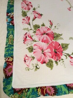 Vintage Cotton Print Tablecloth w/ Added Edging Hawaiian Look Hibiscus