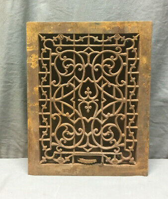 Antique Cast Iron Decorative Heat Grate Floor Register 14x11 Vintage 393-19L