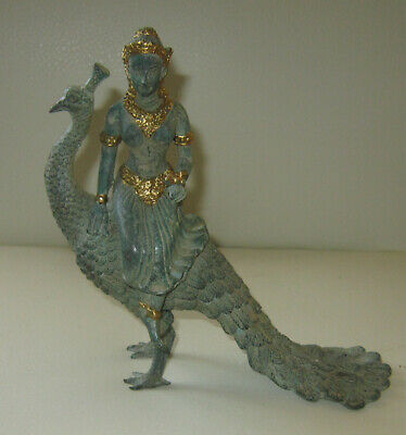 Vintage gilded bronze statue of Hindu goddess Saraswati riding peacock -unusual