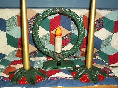 Antique cast iron Holly Wreath Christmas WORKING light w matching candle holders